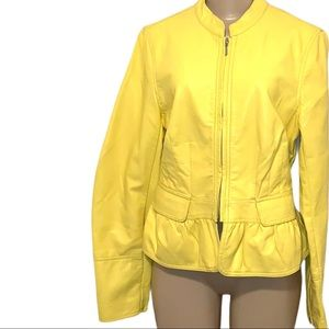 2021 Trend Bold Yellow Faux Leather Jacket